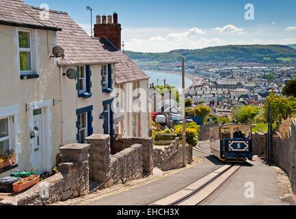 Great Orme Tramway Tram Climbing the Hills above Llandudno Seafront, Llandudno, North Wales, UK - Stock Photo