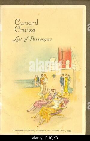List of Passengers for Cunard Cruise on R M S Lancastria - Stock Photo