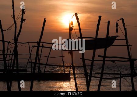 Sunset at Savudrija/Salvore docks for boats, Croatia. - Stock Photo