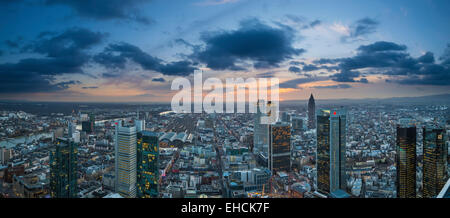 View of the city at sunset from the Main Tower with skyscrapers in the financial district, Frankfurt am Main, Hesse, - Stock Photo