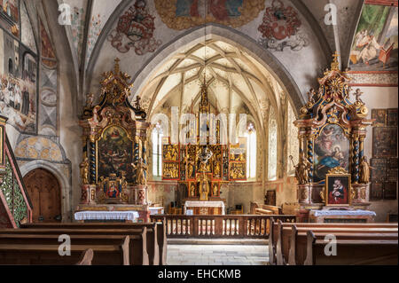 Hospital Church of the Holy Trinity, interior, famous winged altar by Jörg Lederer, late Gothic, 1520, Latsch, Laces, - Stock Photo