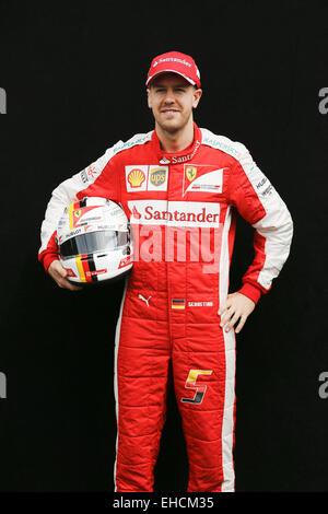 Melbourne, Australia. 12th Mar, 2015. SEBASTIAN VETTEL of Germany and Scuderia Ferrari poses for the photographers - Stock Photo