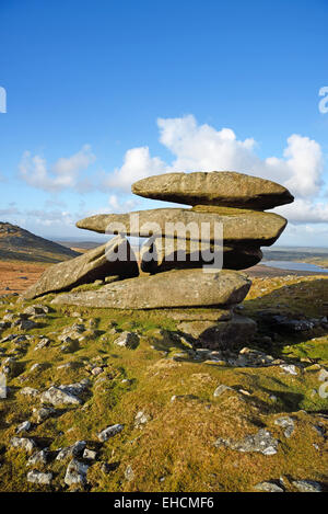 Showery Tor, the northernmost summit of the Roughtor ridge on Bodmin Moor, Cornwall. - Stock Photo