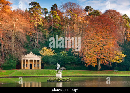 Temple of Piety in Autumn, Studley Royal, Fountains Abbey, Near Ripon, North Yorkshire - Stock Photo