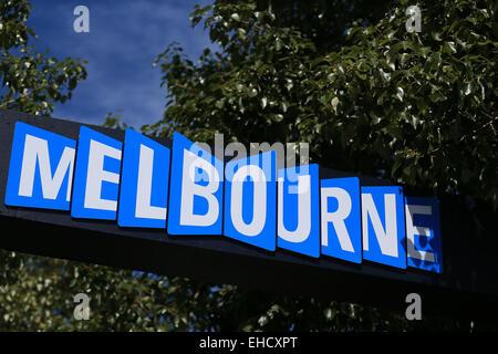 Melbourne, Australia. 12th Mar, 2015. Austalian Grand Prix. Media Day. Melbourne signage at Albert park Credit: - Stock Photo