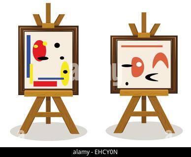 a vector cartoon representing two modern art pieces - Stock Photo