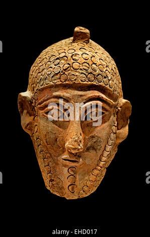 Mask male with beard 5th Century BC Musee National du Bardo Tunisia  Carthage Phoenicia (Phoenician trading city - Stock Photo