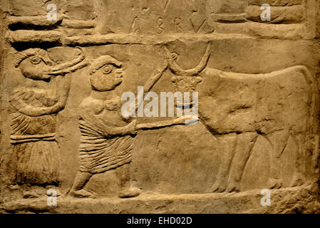 Detail of a Punic stele  Roman Carthage elements from ancient Punic culture were combined with Roman influences. - Stock Photo
