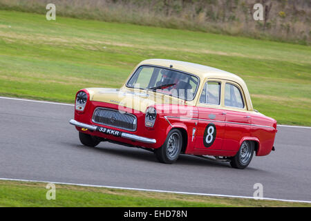 1959 Ford Prefect 107E with driver James Martin in the St Mary's Trophy race at the 2014 Goodwood Revival, Sussex, - Stock Photo