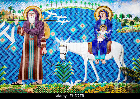 Mosaic depicting the Holy Family at the entrance to the Hanging Church in the Coptic quarter of Old Cairo. - Stock Photo