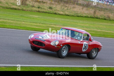 1961 Jaguar E-Type 'semi-lightweight' during the RAC TT Celebration race at the 2014 Goodwood Revival, Sussex, UK. - Stock Photo