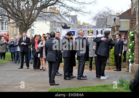 Porthcawl, Wales, UK. 12th Mar, 2015. Funeral of Steve Strange at All Saints Church in Porthcawl today. Martin Kemp, - Stock Photo