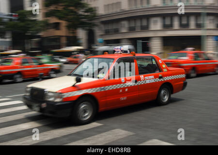 Taxis in Tokyo, Japan - At Ginza Station. - Stock Photo