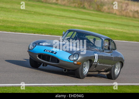 1961 Jaguar E-Type FHC, CUT7, during the RAC TT Celebration race, 2014 Goodwood Revival, Sussex, UK. Driver; Rob - Stock Photo