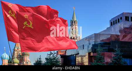 The flag of the Soviet Union (USSR) waving in the wind. - Stock Photo