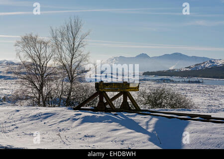 rannoch station frost in snow & ice with blue sky on beautiful winter's day - Stock Photo