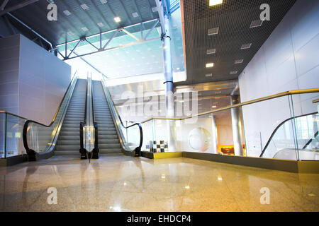 Escalators in exhibition centre - Stock Photo
