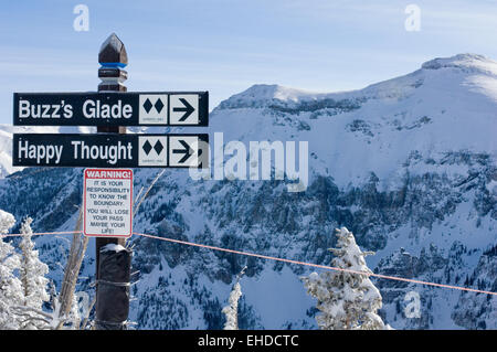 Trail markers for Buzz's Glade and Happy Thought ski runs, Telluride, Colorado - Stock Photo
