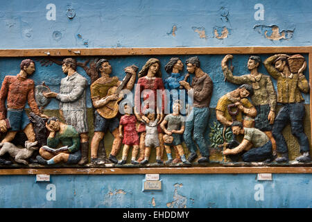 Argentina, Buenos Aires, La Boca, Caminito, El Coro, The Choir, relief mural - Stock Photo
