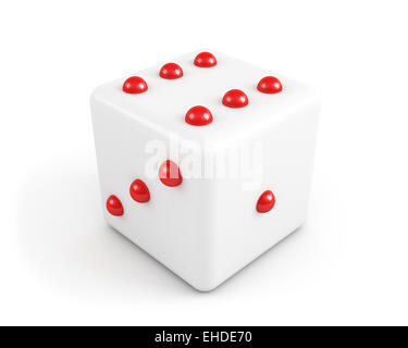 dice with red dots - Stock Photo