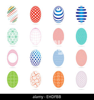 Illustration of sixteen easter eggs on a white background - Stock Photo