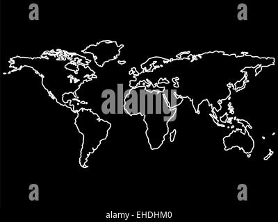 World map outlines vector black and white image stock vector art halftone world outline white world map outlines isolated on black stock photo gumiabroncs Image collections