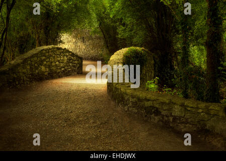 Walkway over bridge. Bunratty Castle, ireland - Stock Photo