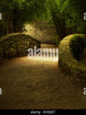 Walkway over bridge. Bunratty Castle, ireland - Stock Photo