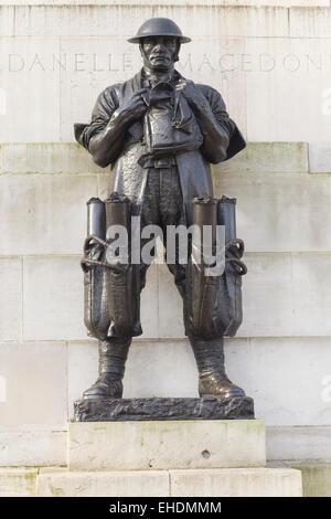 Bronze Figure Sculpture Of Ww1 World War One 1 Soldier On