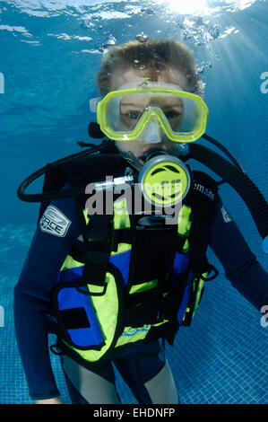 A Boy Learning To Scuba Dive In A Swimming Pool In Bali Stock Photo Royalty Free Image