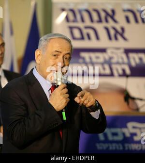 (150312) -- JERUSALEM, March 12, 2015 (Xinhua) -- Israeli Prime Minister and Likud Party's candidate Benjamin Netanyahu - Stock Photo
