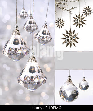 crystal christmas ornaments against silver stock photo - Crystal Christmas Decorations