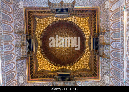 Dome Hall of Ambassadors Alcazar of Seville, - Stock Photo