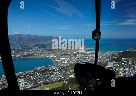 Wellington International Airport, Evans Bay and Lyall Bay,  viewed from Robinson R44 helicopter, Wellington, North - Stock Photo