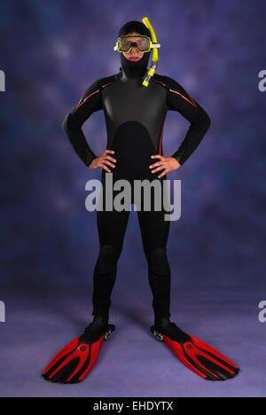 Underwater diver in studio - Stock Photo