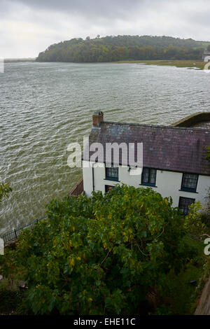 Exterior part view of Dylan Thomas's house overlooking estuary at Laugharne South Wales - Stock Photo