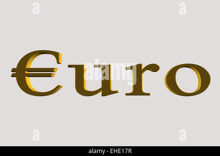 euro word in gold - Stock Photo