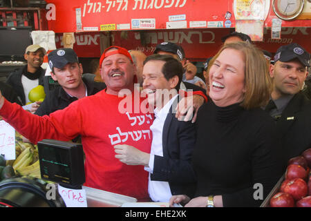 (150312) -- JERUSALEM, March 12, 2015 (Xinhua) -- Israel's Zionist Union leaders Isaac Herzog (3rd R) and Tzipi - Stock Photo
