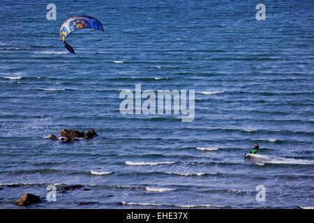 kitesurfing in Brittany, France - Stock Photo