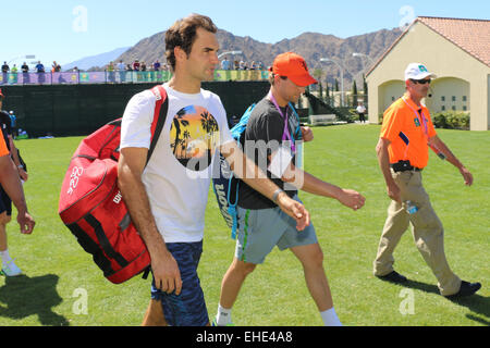 Indian Wells, California USA 12th March, 2015 Swiss tennis player Roger Federer at the BNP Paribas Open. Credit: - Stock Photo