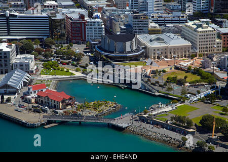 Lagoon and The Boatshed, Wellington waterfront, North Island, New Zealand - aerial - Stock Photo