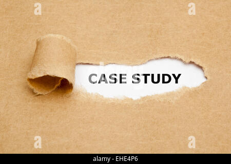 The text Case Study appearing behind torn brown paper. - Stock Photo