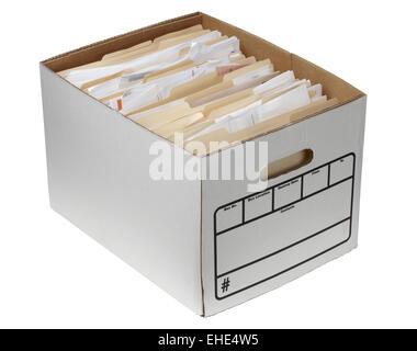 File folders in storage box - Stock Photo