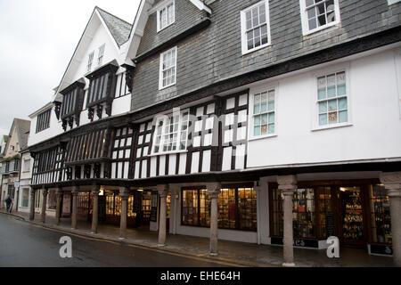 The timber-framed former merchant's house, now the Dartmouth Museum, the Butterwalk, Duke Street, Dartmouth, Devon - Stock Photo