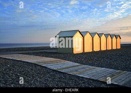 Beach huts, Cayeux-sur-Mer, Picardie, France - Stock Photo