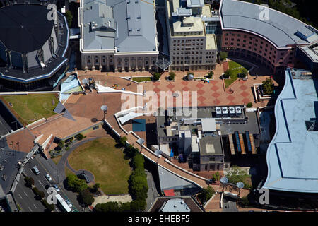 Civic Square, Wellington, North Island, New Zealand - aerial - Stock Photo