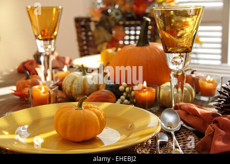 Place setting ready for thanksgiving - Stock Photo