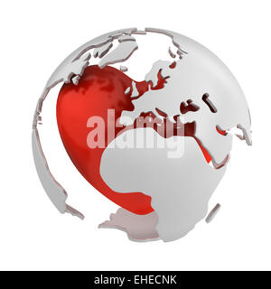 Globe with heart, Europe part - Stock Photo