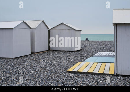 Beach huts, Mers-les-Bains, Picardy, France - Stock Photo