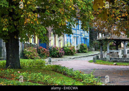 Market place, Gerberoy, Picardy, France - Stock Photo